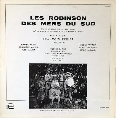 French Canadian Disneyland Record Swiss Family Robinson, Back Cover