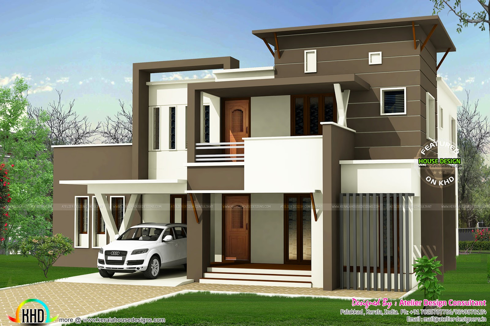 233 square yards flat roof modern home kerala home Modern square house