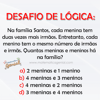 Desafio de lógica: Na família Santos, cada menina tem duas vezes...