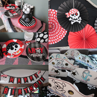 Red and Black Pirate Theme Birthday Party Decor Ideas