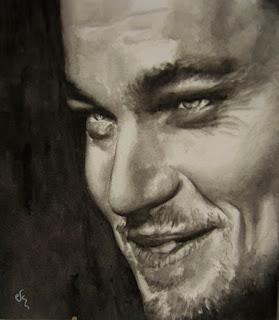 Retrato del Leonardo Di Caprio. Acuarela sobre papel