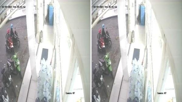 Terekam CCTV, Pencuri Motor Beraksi di Minimarket Surabaya Hitungan Detik