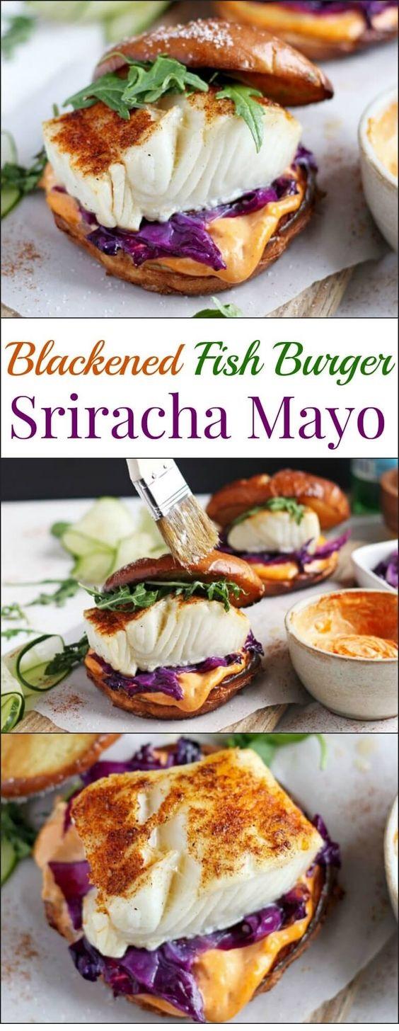 Blackened Fish Burger And Sriracha Mayo