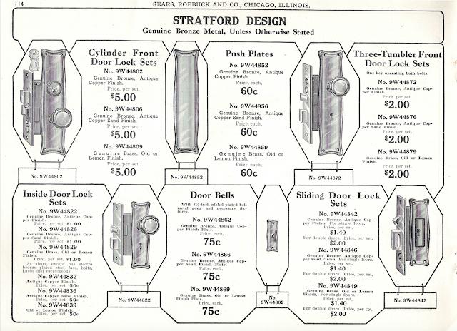 Sears Building Supplies catalog page showing Sears Stratford design door handle hardware