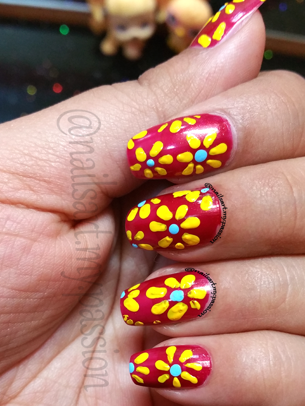Tutorial 8: Red with Yellow flowers Nails