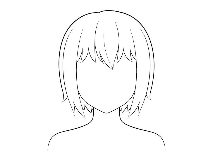 Anime gambar garis rambut pendek