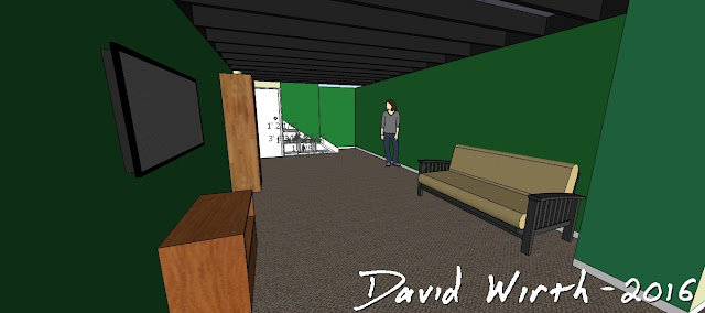 google sketchup, basement, remodel, house, joists, carpet, beam, 2x4, stud wall