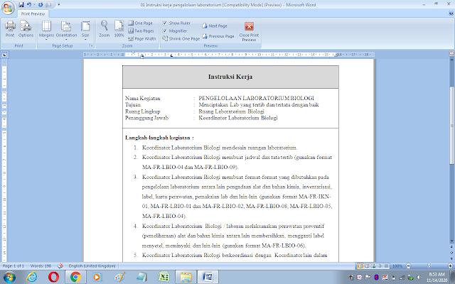 Contoh format instruksi kerja pengelolaan laboratorium biologi sekolah