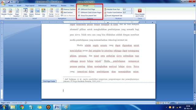 cara membuat halaman pada skripsi di word 2007