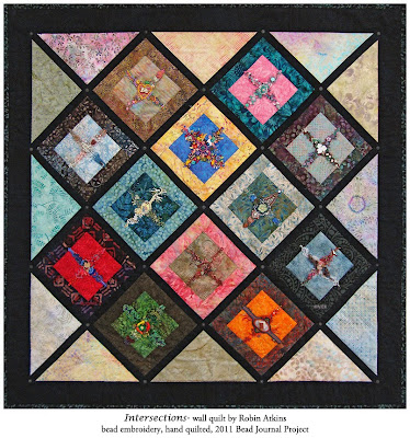 Robin Atkins, beaded quilt, Intersections