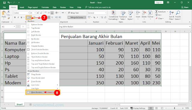 cara membuat tabel di excel 2010