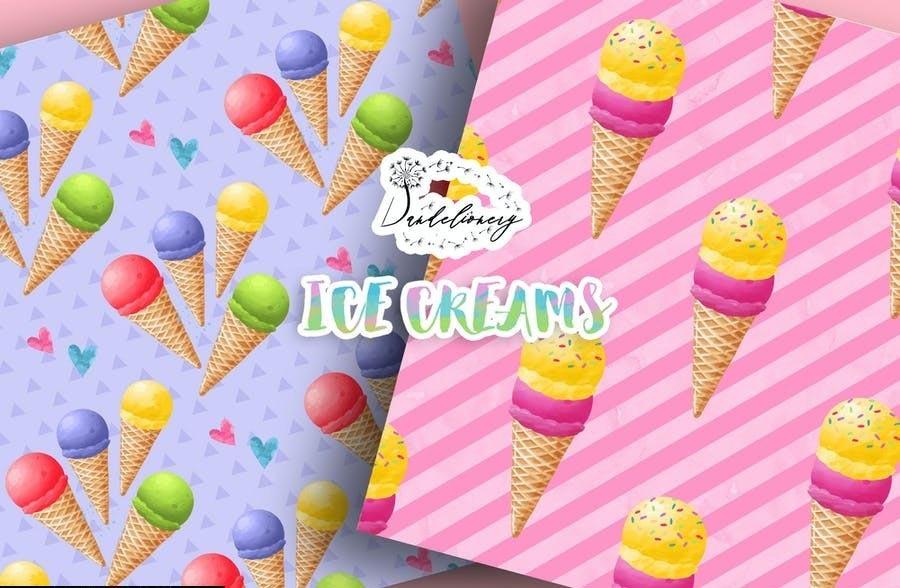Watercolor Ice Creams Digital Paper Pack (JPG)