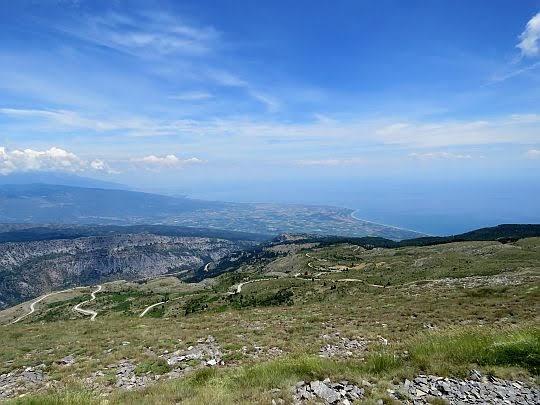 Panorama na wybrzeże i Morze Egejskie.