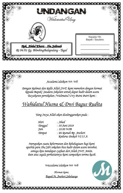 Undangan walimatul ursy yang bisa di edit format word doc8 by massiswo.com