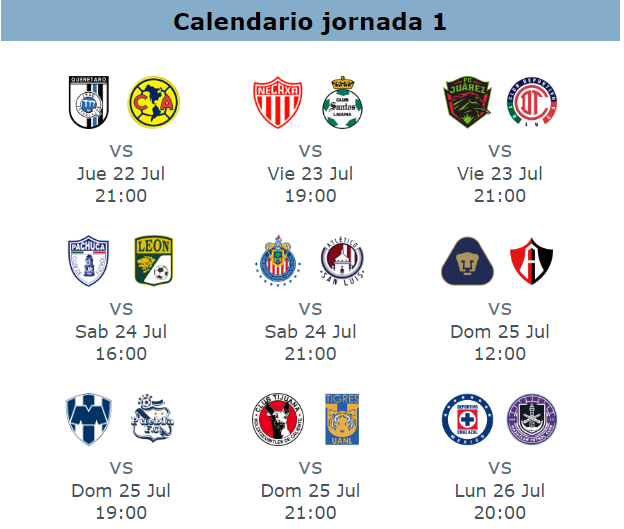 Calendario jornada 1 apertura 2021
