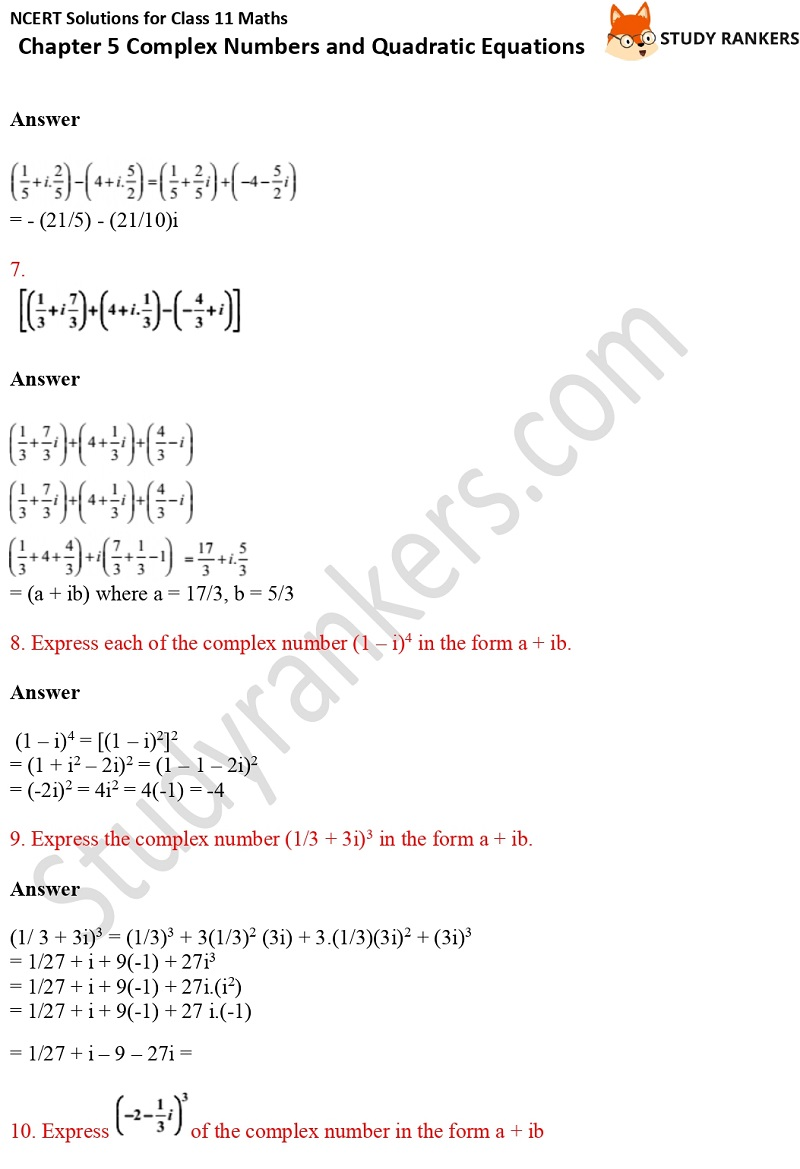 NCERT Solutions for Class 11 Maths Chapter 5 Complex Numbers and Quadratic Equations 2