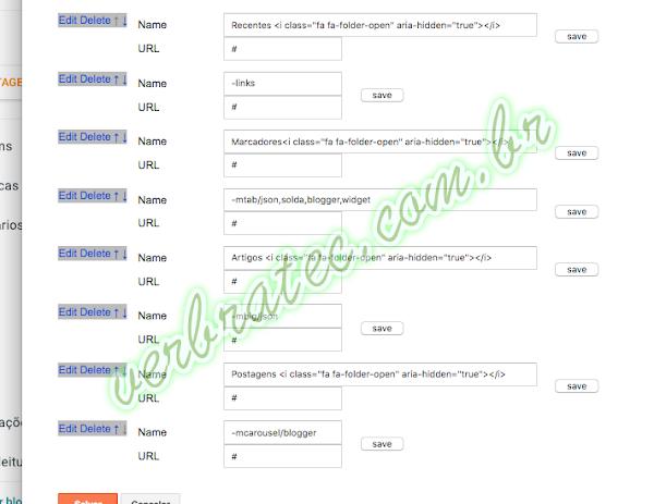 Configuração básica do menu principal do template verbratec.