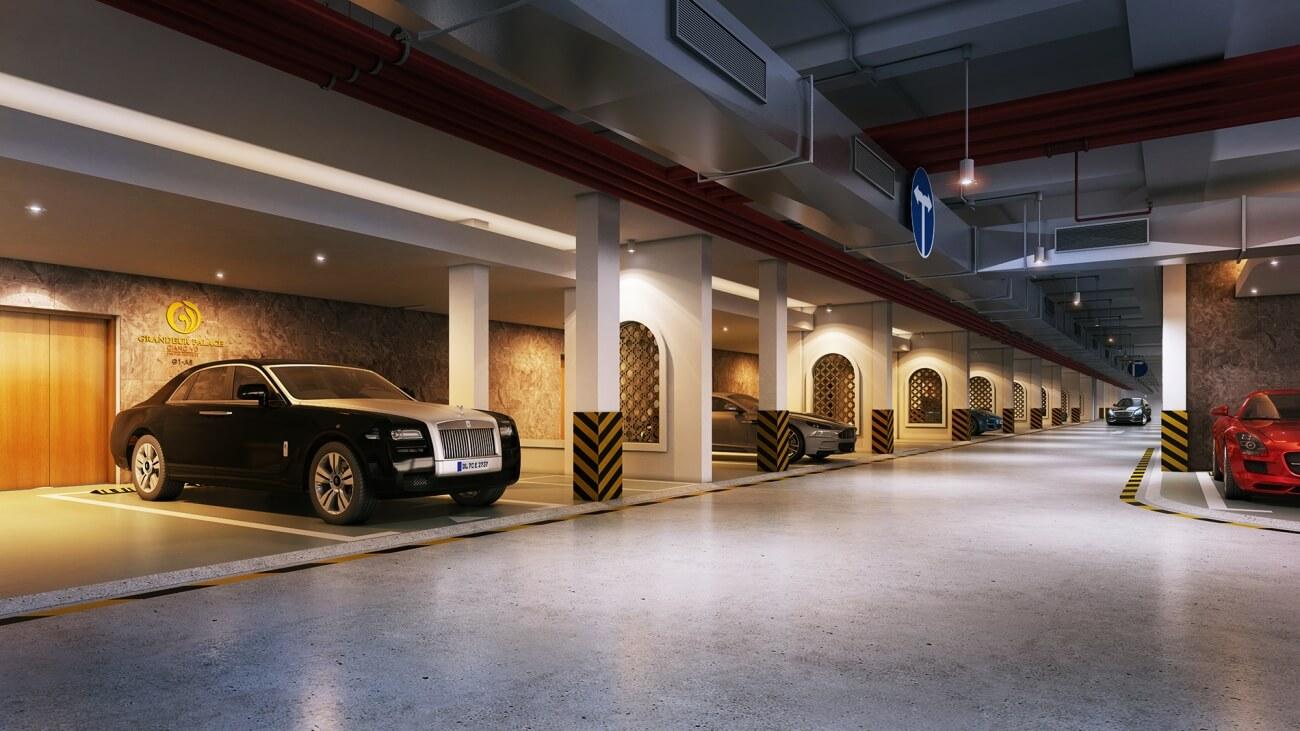 Hầm đỗ xe sang của chung cư Grandeur Palace