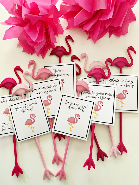 Flamingo swizzle sticks with puns @michellepaigeblogs.com