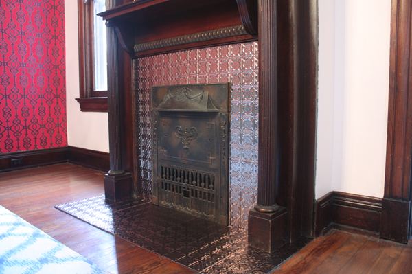 Faux Tin Tile Fireplace Makeover How About Orange