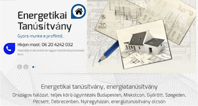 Az Energetikai Tanúsítvány honlaprészlete