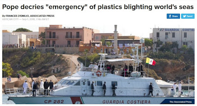 Pope bans plastics