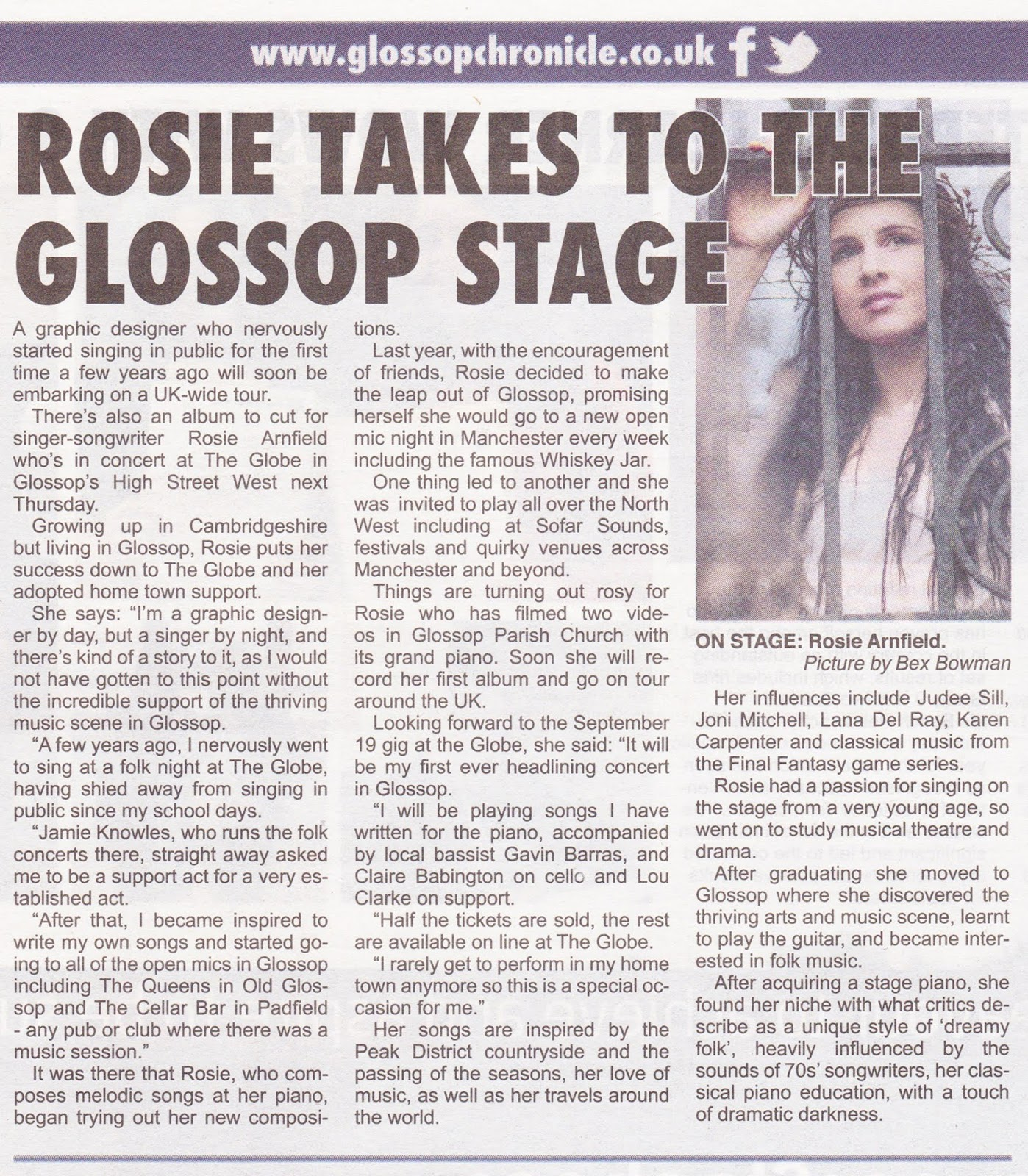 Rosie Takes to The Glossop Stage