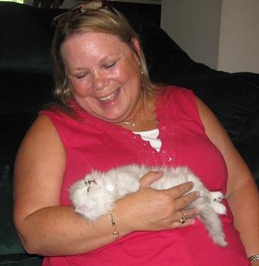 Paula holding persian kitten, Truffle