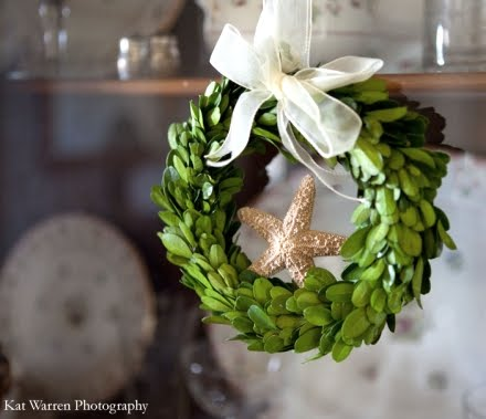 Christmas wreath with greenery