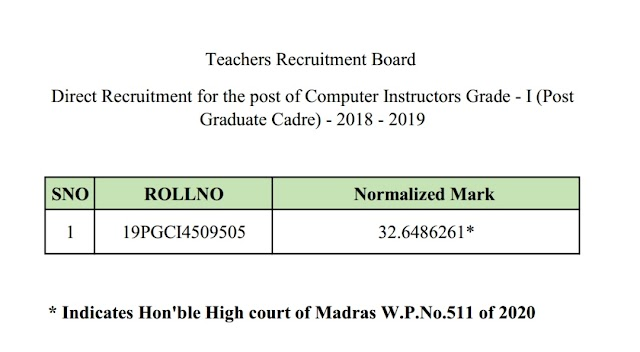 TRB - Computer Instructors Grade I (PG Cadre) - 2018 - 2019 - Publication of Mark