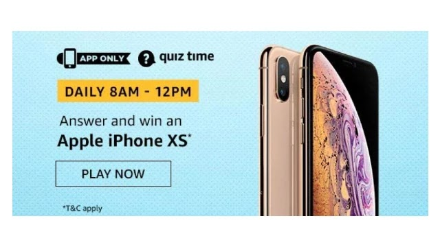 Amazon Quiz Answers For Today 19th April 2020 - Win Apple iPhone XS