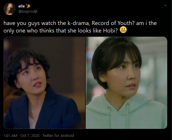 This Actress of 'Record Of Youth' is Said Looks Like BTS' J-Hope