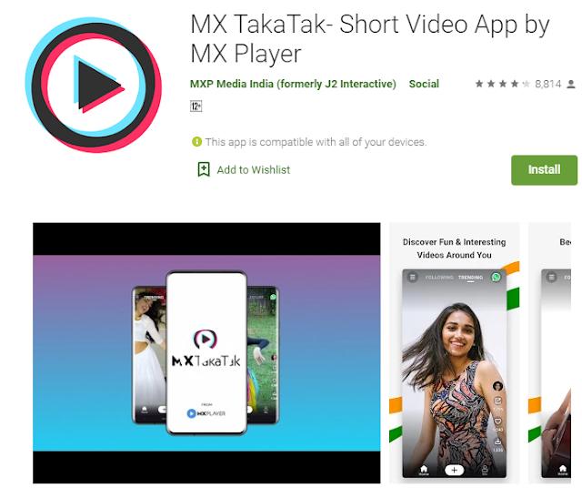New Short Video App MX TakaTak launched by MX Player 2020 | TikTok Alternatives