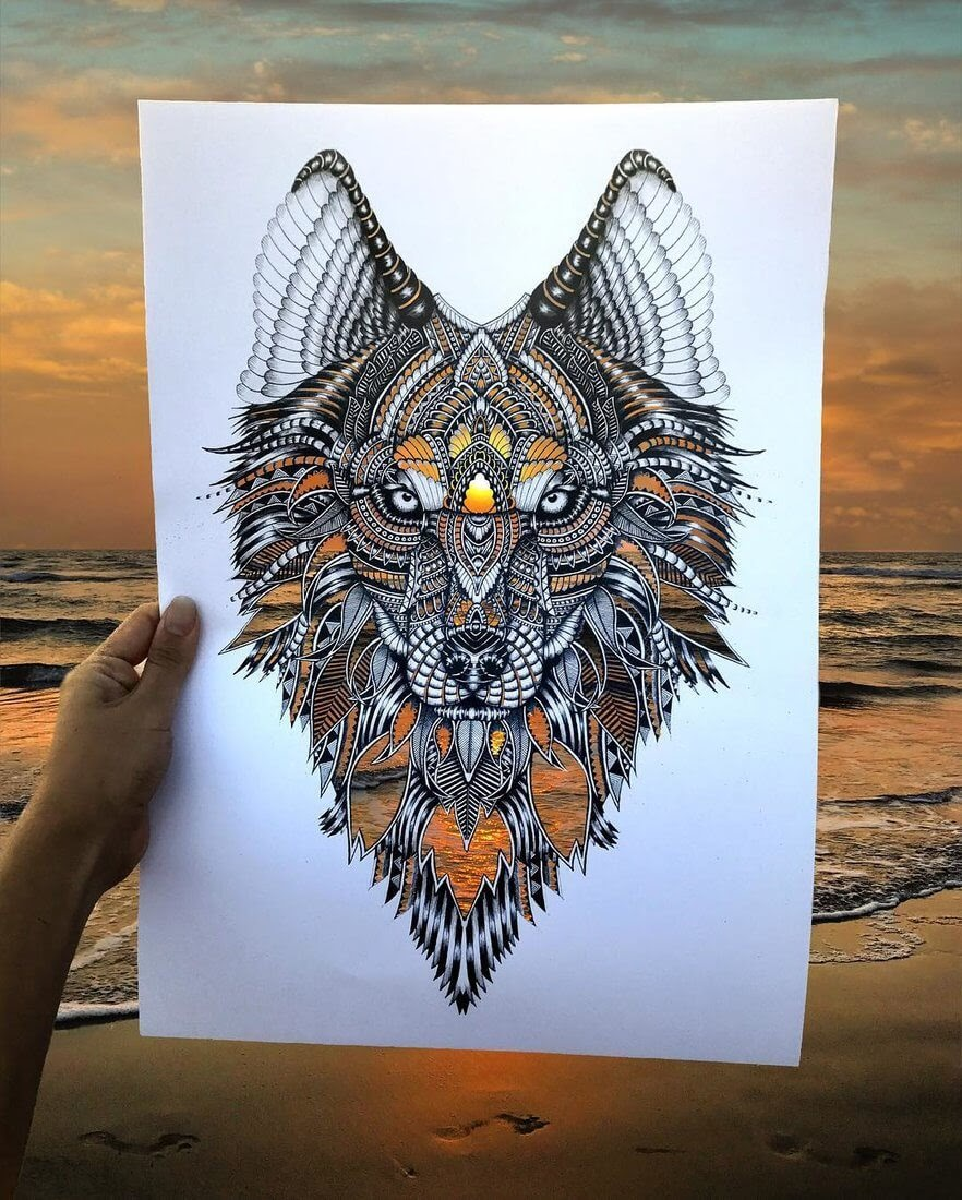 14-Wolf-Faye-Halliday-Animals-with-Zentangle-Detailing-www-designstack-co