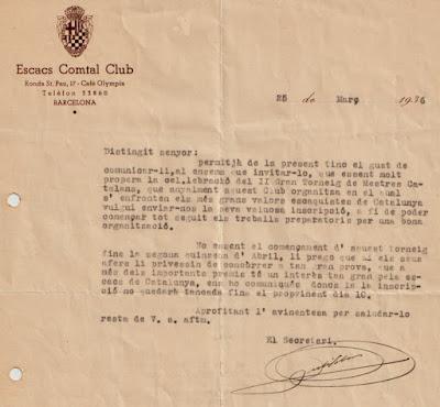 II Torneo de Maestros Catalanes 1936, invitación del Escacs Comtal Club a Àngel Ribera