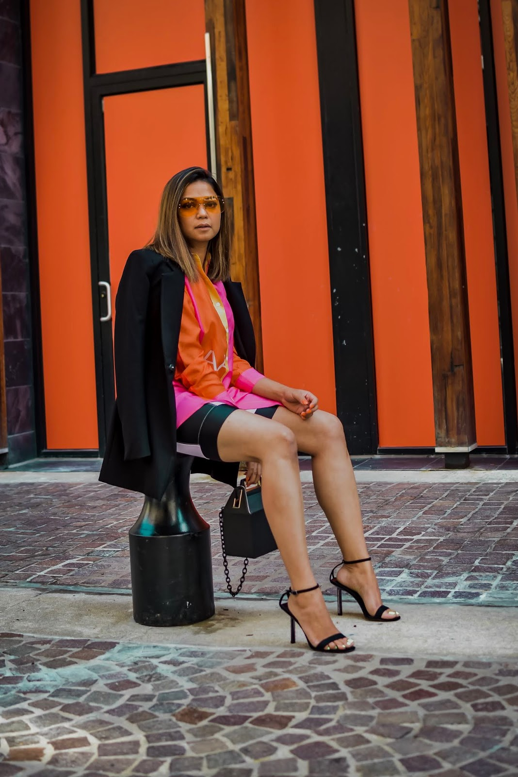 how to wear the color of the season, burnt orange, fall fashion, fall outfit, bermuda shorts, casual look, colored sunglasses, athleisure look, fashion, fall, myriad musings. isaac mizrahi target 20 top, saumya shiohare