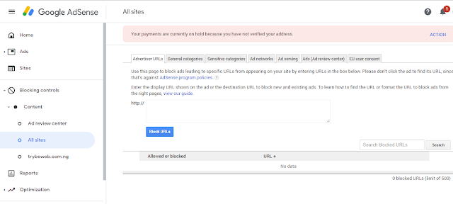 Adsense Blocking Control Feature Trybeweb