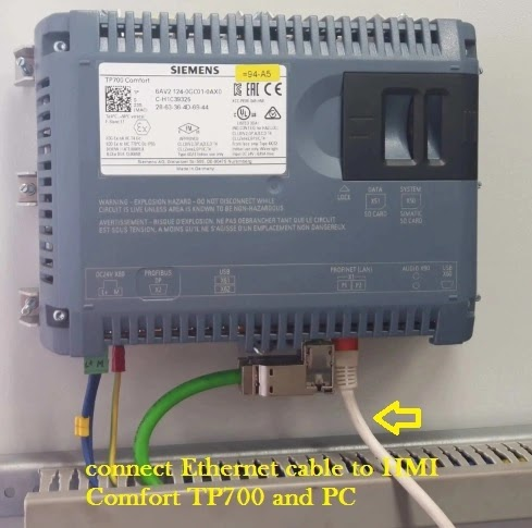 connect Ethernet cable to HMI simatic Comfort TP700 and PC