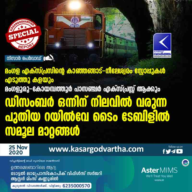 Kasaragod, Kanhangad, Neeleswaram, Kerala, News, Train, Railway, Mangalore,  Kanhangad Neeleswaram stops of Mangala Express will be removed; Radical changes in the new railway timetable coming into force on December 1