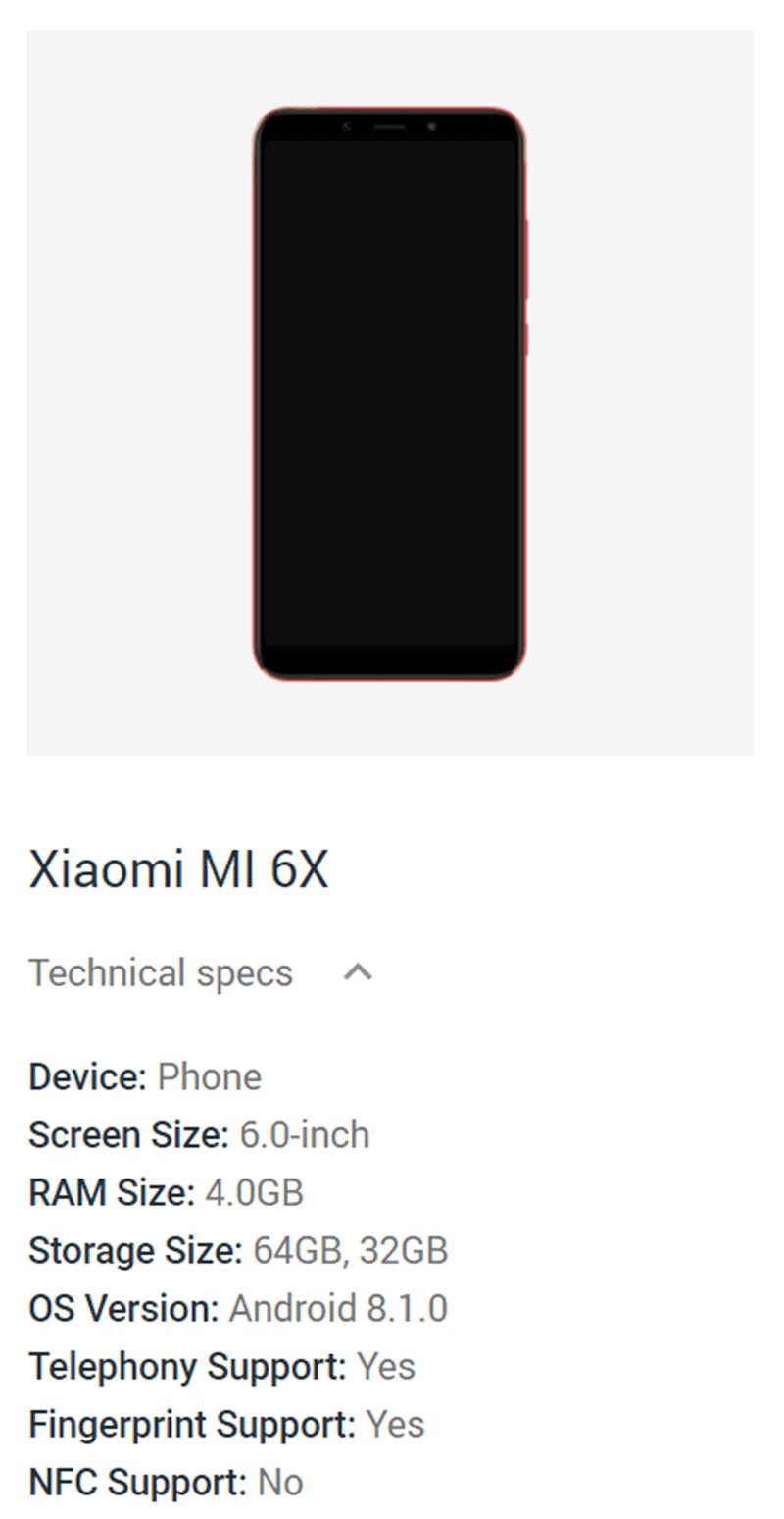 Confirmed specs of Mi 6X