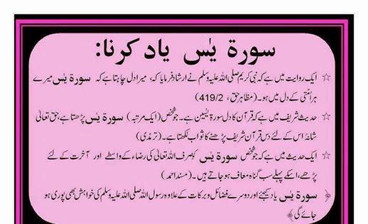 surah yaseen yaad karnay k faiday