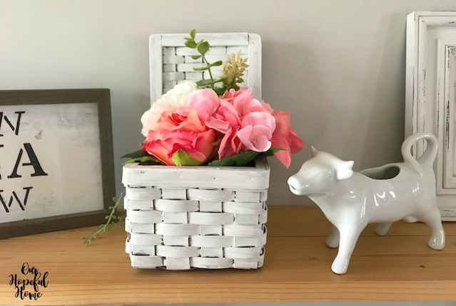 white farmhouse basket cow creamer peonies flowers