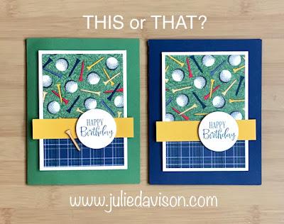 8 Cards, 1 Layout with SAB Designer Paper Sampler ~ Stampin' Up! Country Club (golf) Designer Paper + Peaceful Moments stamp set ~ January-June 2020 Mini Catalog ~ www.juliedavison.com