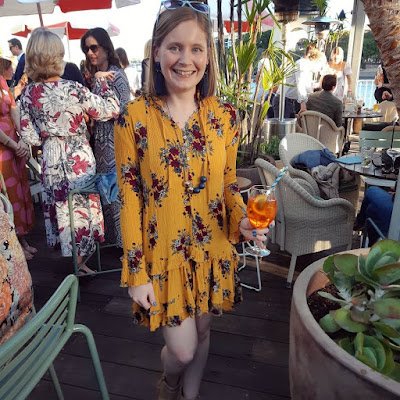 drinks at Mr Percivals night out outfit spring brisbane mustard floral zaful ruffle dress ankle boots