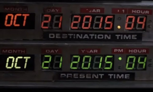 Imagem ilustrativa de painel com datas de viagem no tempo.