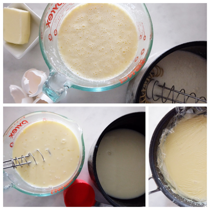 assembling the custard by tempering the eggs
