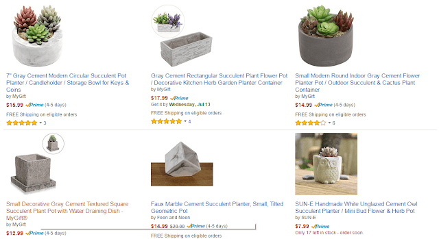 Amazon results for Cement Succulent Planter https://dotcomlifestyleyourway.blogspot.com/