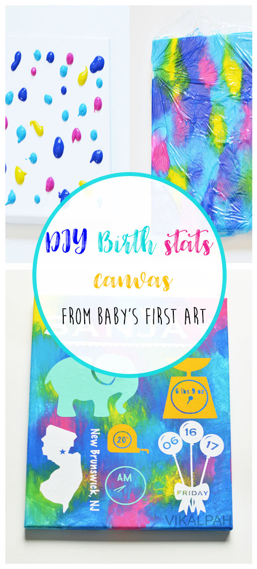 Baby's painting into wall art using silhouette