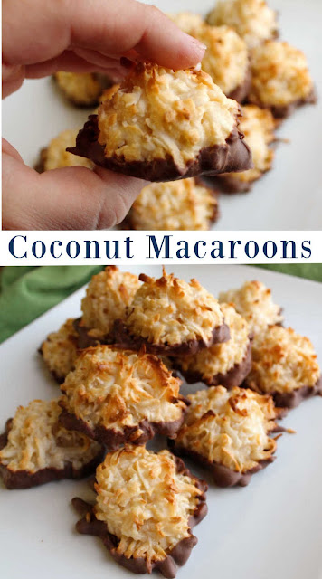 Chewy coconut filled macaroons are a simple cookie to make. The batter is super simple to make and the goodness of sweetened condensed milk is baked right in!
