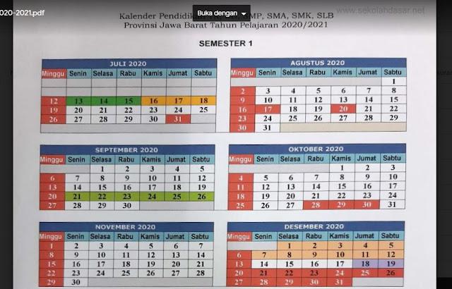 Kalender Pendidikan Tahun Pelajaran 2020/2021 Jawa Barat